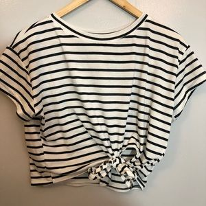 Striped crop top with front tie